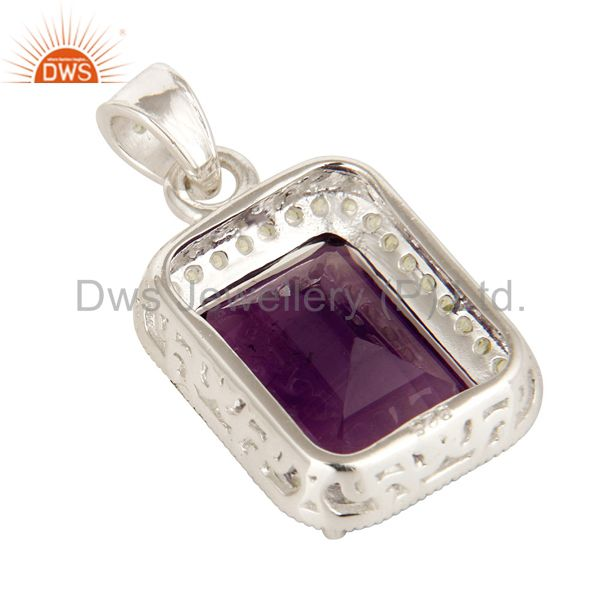Suppliers 925 Sterling Silver Amethyst And Peridot Gemstone Designer Cluster Pendant