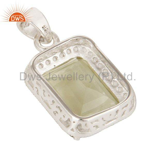 Suppliers Green Amethyst Gemstone 925 Sterling Silver Prong Set Pendant With White Topaz