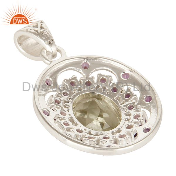 Suppliers Natural Amethyst And Prasiolite Gemstone Fine Sterling Silver Pendant Jewelry