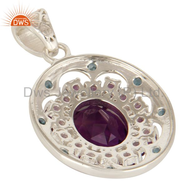 Suppliers Natural Amethyst And Blue Topaz Gemstone Solid Sterling Silver Cluster Pendant