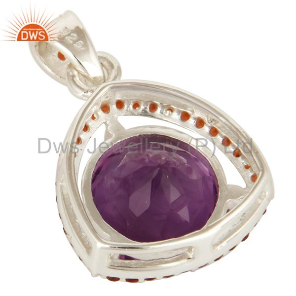 Suppliers 925 Sterling Silver Amethyst 12mm Round And Garnet Prong Set Gemstone Pendant