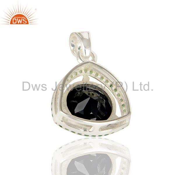 Suppliers Tsavorite Studded Black Onyx Triangle Pendent Solid 92.5 Sterling Silver Pendent