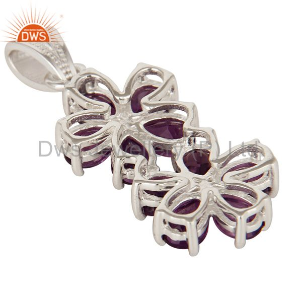Suppliers Natural Purple Amethyst 925 Sterling Silver Gemstone Double Flower Pendant