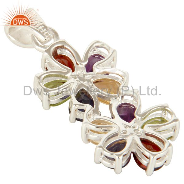 Suppliers 925 Sterling Silver Mix Colored Gemstone Double Flower Pendant