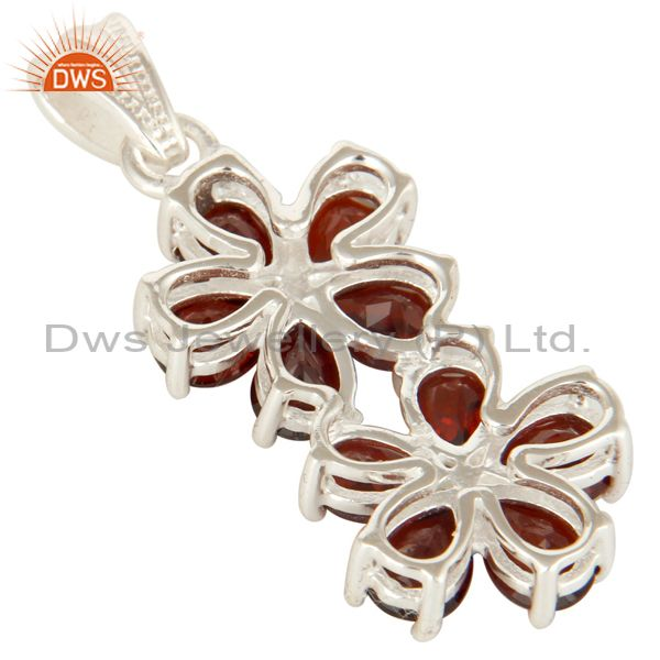 Suppliers 925 Sterling Silver Garnet Gemstone Double Flower Designer Pendant