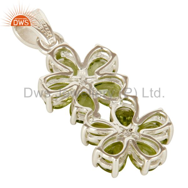 Suppliers 925 Sterling Silver Natural Peridot Gemstone Flower Cluster Pendant