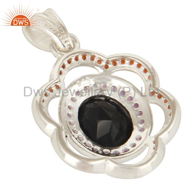 Suppliers 925 Sterling Silver Black Onyx And Garnet Gemstone Designer Pendant