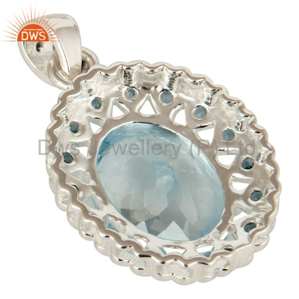 Suppliers Natural London Blue Topaz Prong Set Gemstone Sterling Silver Pendant Jewelry