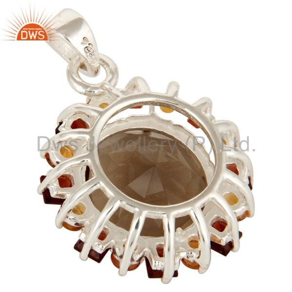 Suppliers Smoky Quartz, Citrine And Garnet Sterling Silver Gemstone Cluster Pendant Jewelr