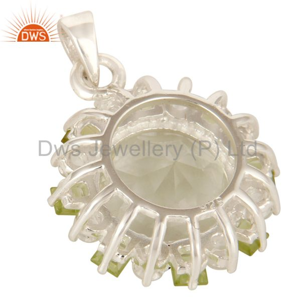 Suppliers Green Amethyst, Peridot And White Topaz Prong Set Pendant In Sterling Silver