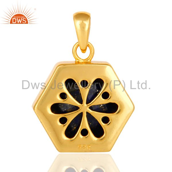 Suppliers 925 Sterling Silver Lapis Lazuli Gemstone Hexagon Shape Pendant With Gold Plated