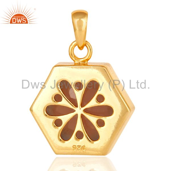 Suppliers 14K Yellow Gold Plated Sterling Silver Pendant With Faceted Rose Quartz