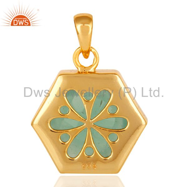 Suppliers Green Aqua Glass Sterling Silver With 14k Yellow Gold Plating Fashion Pendant