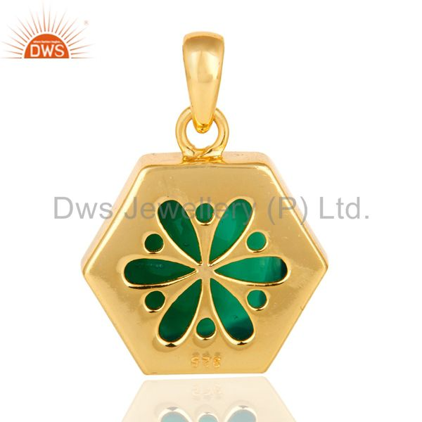 Suppliers Faceted Green Onyx Gemstone Sterling Silver Pendant With Gold Plated