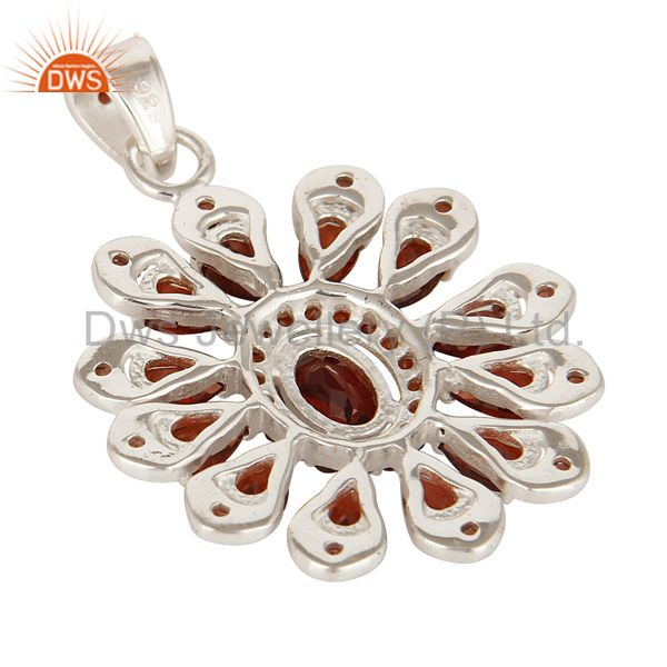 Suppliers Designer Solid Sterling Silver Garnet Gemstone Cluster Pendant Jewelry