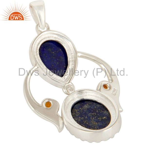 Suppliers Handmade Sterling Silver Lapis Lazuli And Citrine Gemstone Designer Pendant