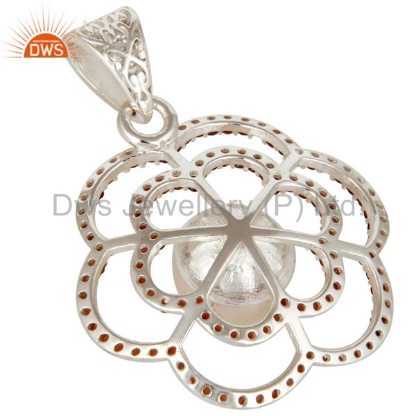 Suppliers 925 Sterling Silver White Pearl And Garnet Gemstone Designer Pendant