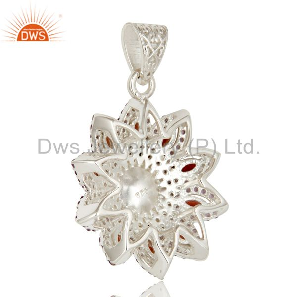 Suppliers Natural Amethyst, Garnet And White Pearl Sterling Silver Flower Design Pendant