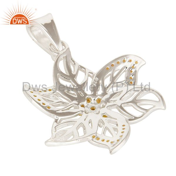 Suppliers Solid Sterling Silver Citrine Gemstone Floral Designer Pendant Jewelry