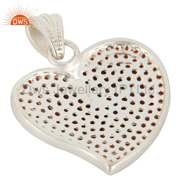 Suppliers 925 Sterling Silver Micro Pave Set Garnet Gemstone Heart Shape Pendant For Women