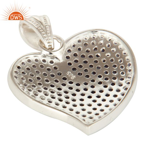 Suppliers 925 Sterling Silver Micro Pave Set Iolite Gemstone Heart Shape Pendant For Women