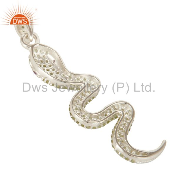 Suppliers Peridot And Amethyst Gemstone Cluster Snake Design Pendant In Sterling Silver