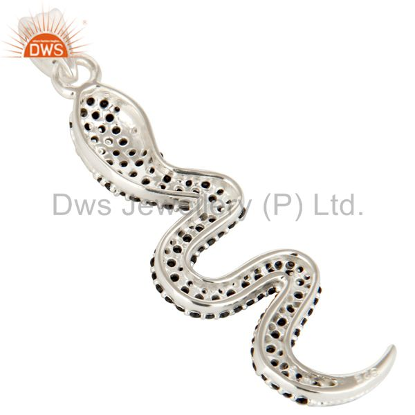 Suppliers 925 Sterling Silver Snake Design Pendant With Black Spinal, Black Onyx And Topaz