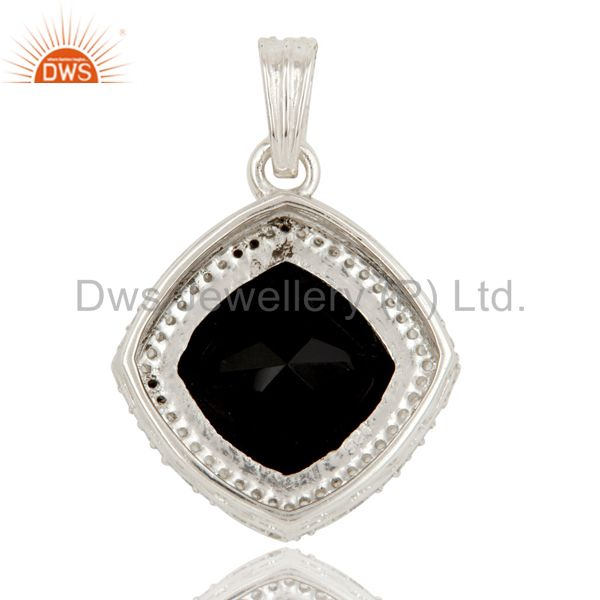 Suppliers 925 Sterling Silver Black Onyx and White Topaz Gemstone Pendant