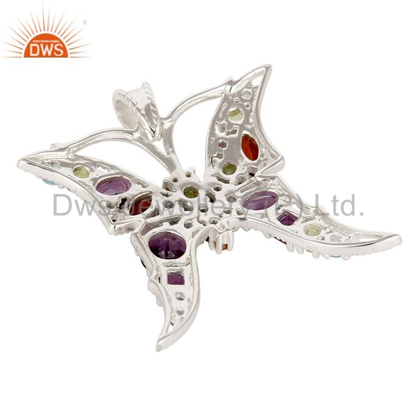 Suppliers Designer 925 Sterling Silver Multi Colored Gemstone Butterfly Pendant