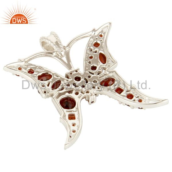 Suppliers 925 Sterling Silver Natural Garnet Gemstone Butterfly Cluster Pendant
