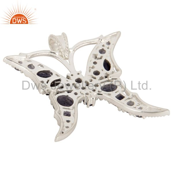 Suppliers 925 Sterling Silver Iolite Gemstone Butterfly Designer Cluster Pendant Jewelry
