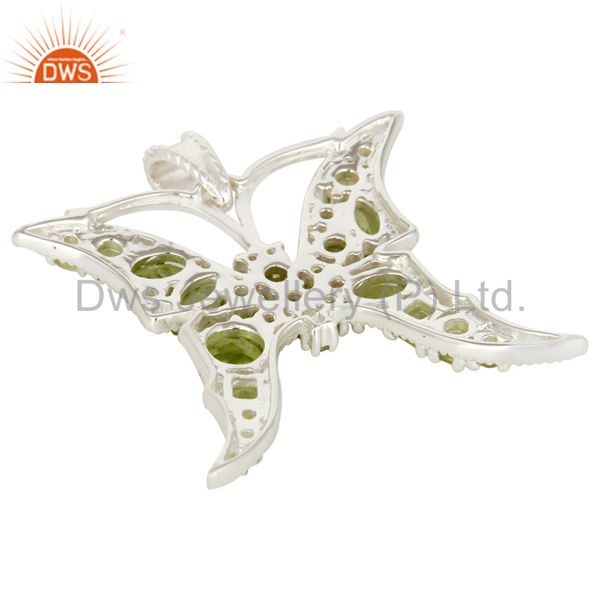 Suppliers 925 Sterling Silver Prong Set Peridot Gemstone Butterfly Designer Pendant
