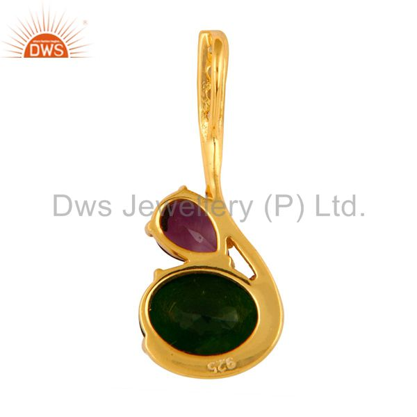 Suppliers 18K Gold Plated Sterling Silver Natural Amethyst And Chrome Dispose Pendant