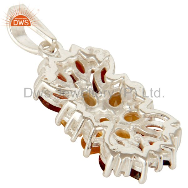 Suppliers 925 Sterling Silver Citrine, Garnet And White Topaz Cluster Pendant Jewelry