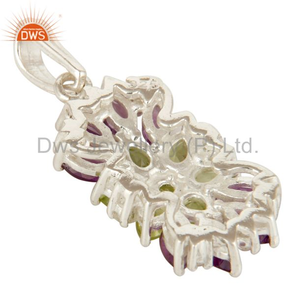 Suppliers Amethyst, Peridot And White Topaz  Sterling Silver Gemstone Cluster Pendant