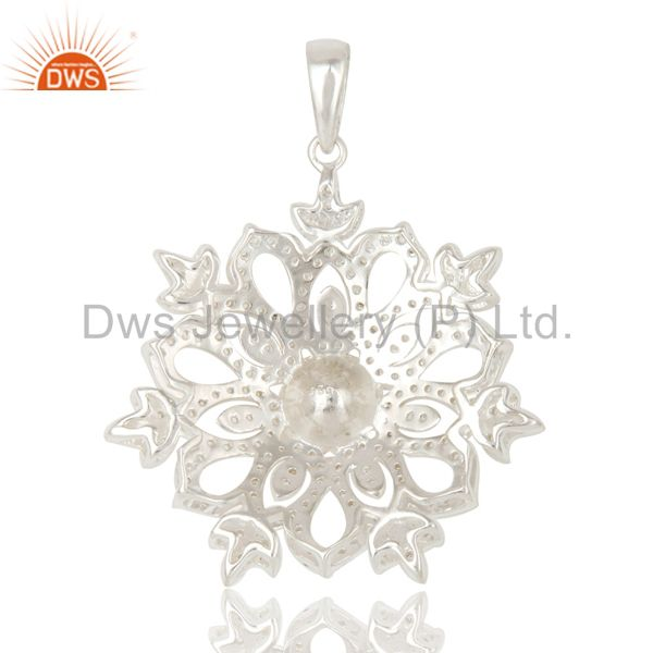 Suppliers Pearl and White Topaz Sterling Silver Designer Flower Pendant Fine Jewelry