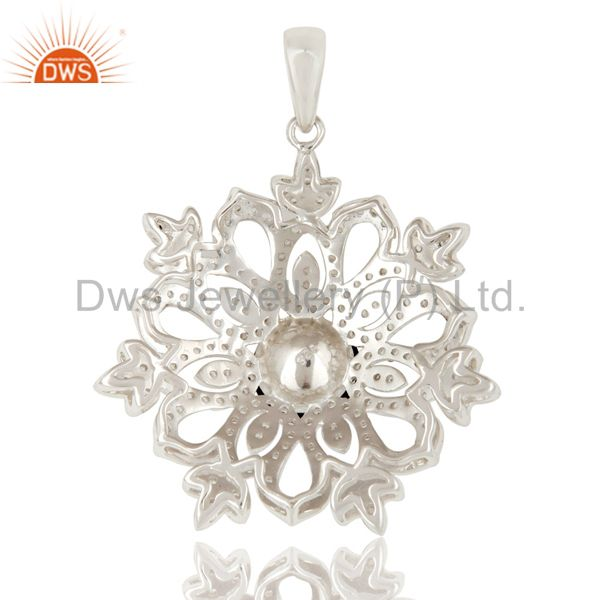 Suppliers Black Onyx and White Topaz Sterling Silver Designer Flower Pendant Fine Jewelry