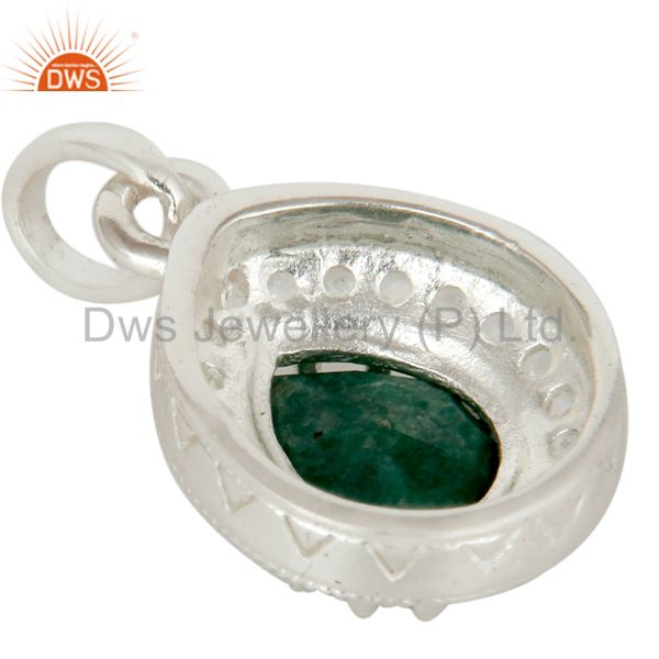 Suppliers 925 Sterling Silver Emerald And White Topaz Gemstone Drop Pendant