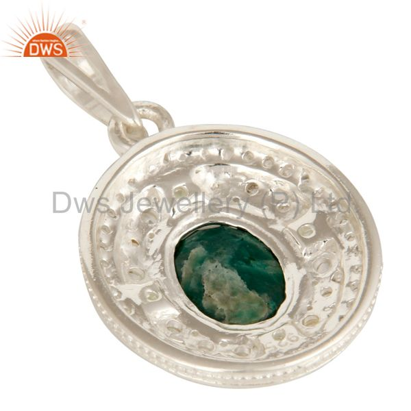Suppliers Green Corundum, Peridot And White Topaz Solid Sterling Silver Pendant