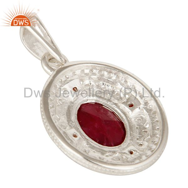 Suppliers 925 Sterling Silver Ruby Corundum, Garnet And White Topaz Gemstone Pendant