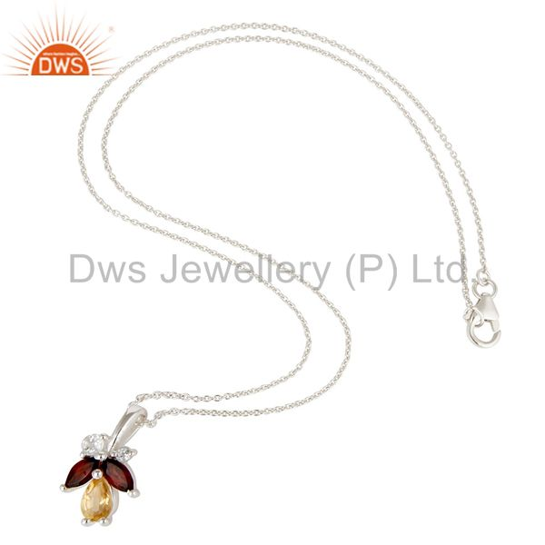 Suppliers Natural Citrine, Garnet & White Topaz 925 Sterling Silver Chain Pendant Necklace