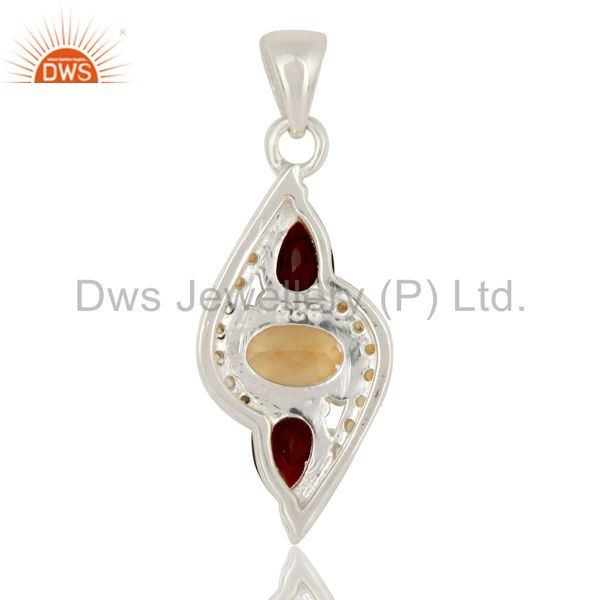 Suppliers Citrine and Garnet Sterling Silver Fine Gemstone Pendant Jewelry
