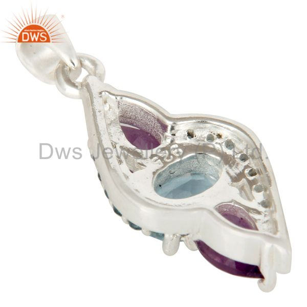 Suppliers Natural Amethyst And Blue Topaz Sterling Silver Fine Gemstone Pendant Jewelry