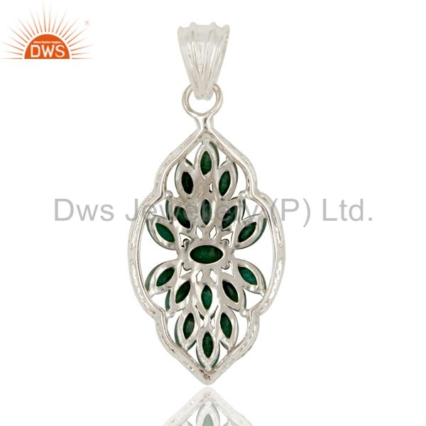 Suppliers Natural Emerald and White Topaz 925 Silver Gemstone Pendant Necklace Jewelry