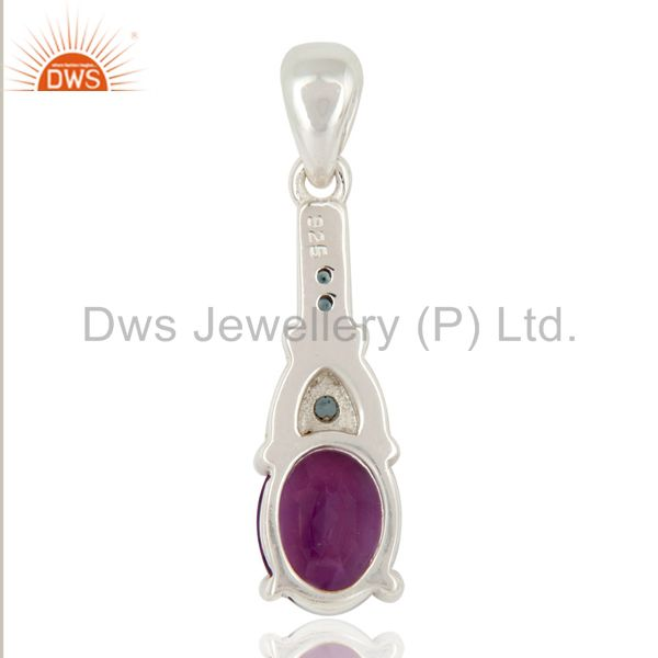 Suppliers Genuine Amethyst and Blue Topaz Sterling Silver Pendant