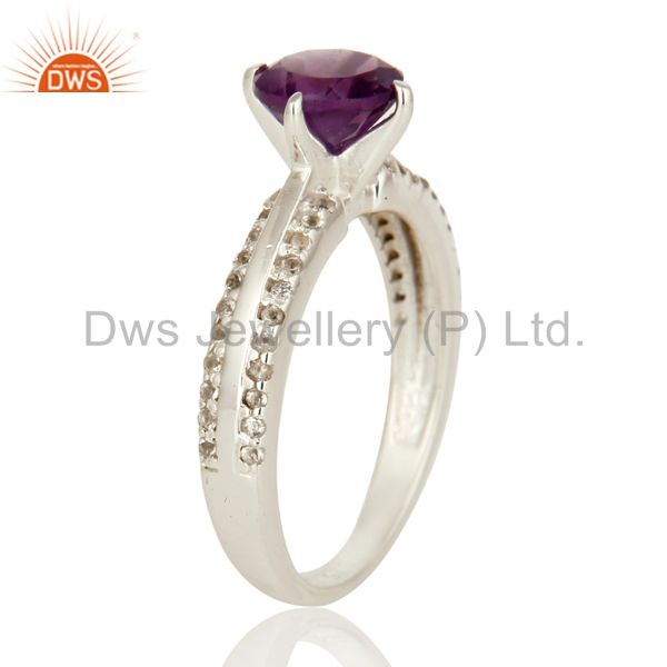 Suppliers Natural Amethyst And White Topaz Halo Ring In Solid 925 Sterling Silver
