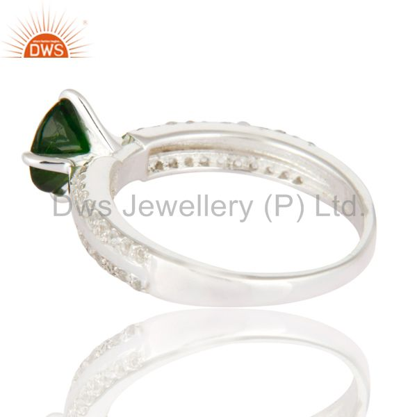 Suppliers Sterling Silver Chrome Diopside & White Topaz Halo Engagement Ring Fine Jewelry
