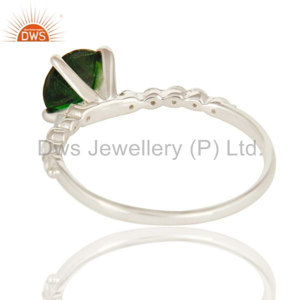 Suppliers Natural Chrome Diopside And White Topaz Sterling Silver Solitaire Ring