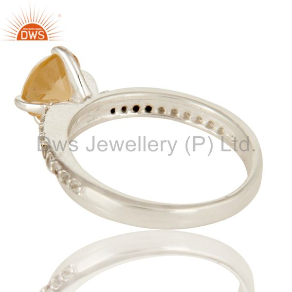 Suppliers 925 Sterling Silver Natural Citrine And White Topaz Halo Engagement Ring