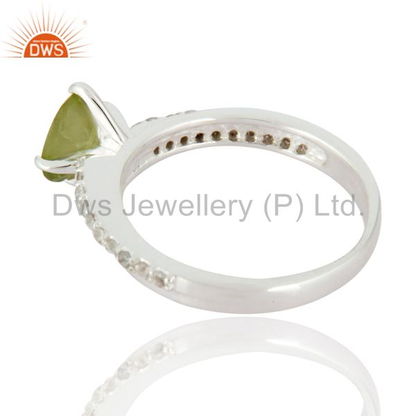 Suppliers Peridot & White Topaz Halo Gemstone Engagement Solitaire Ring in Sterling Silver
